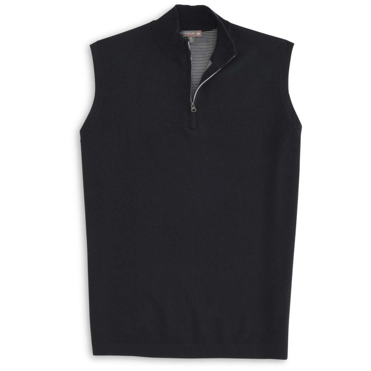 Shelby Quarter-Zip 'Crown Sport' Performance Sweater Vest in Black by Peter Millar