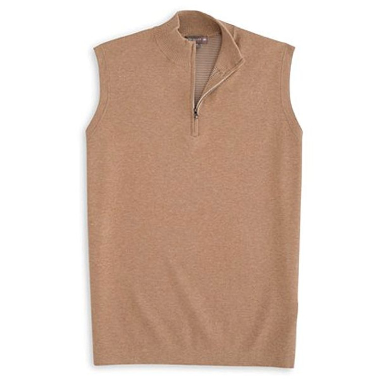 Shelby Quarter-Zip 'Crown Sport' Performance Sweater Vest in Brown Sugar by Peter Millar
