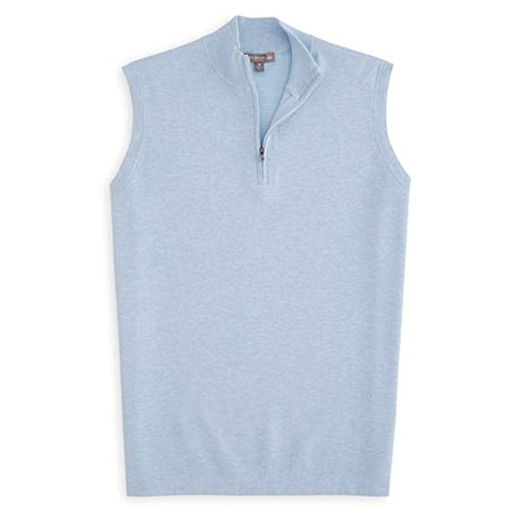 Shelby Quarter-Zip 'Crown Sport' Performance Sweater Vest in Cottage Blue by Peter Millar