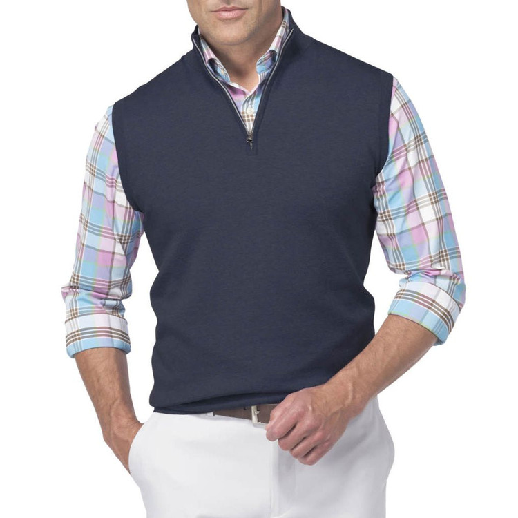 Shelby Quarter-Zip 'Crown Sport' Performance Sweater Vest in Midnight by Peter Millar
