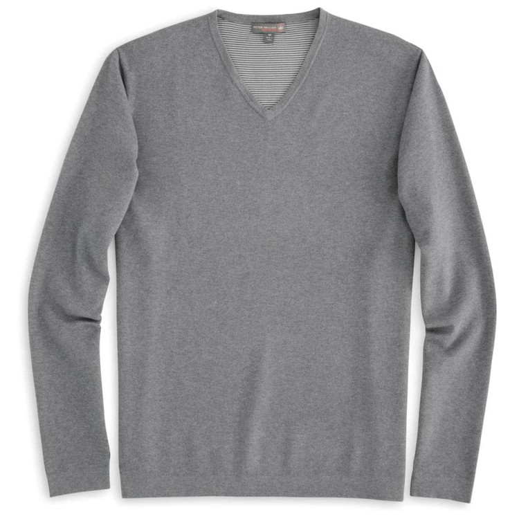 Lexington V-Neck 'Crown Sport' Performance Sweater in Smoke by Peter Millar