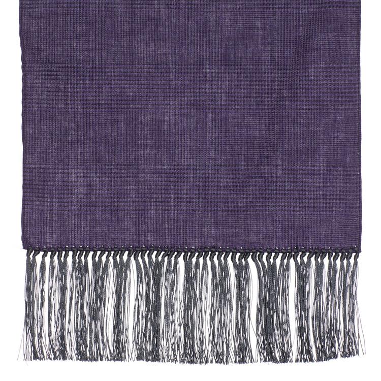 Cotton Scarf in Purple Check with Grey Silk Fringe by Robert Talbott