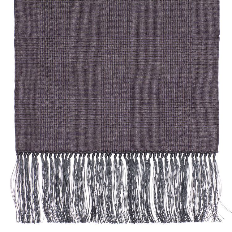 Cotton Scarf in Mauve Check with Grey Silk Fringe by Robert Talbott
