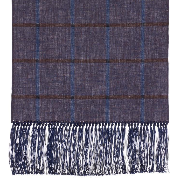 Cotton Scarf in Plum Check with Navy Silk Fringe by Robert Talbott