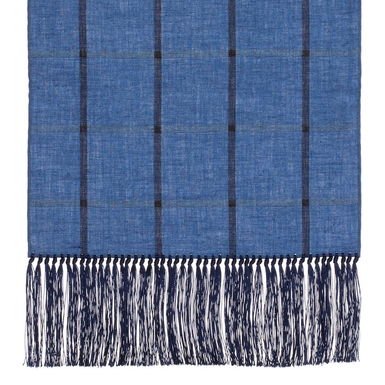 Cotton Scarf in Sky Blue Check with Navy Silk Fringe by Robert Talbott