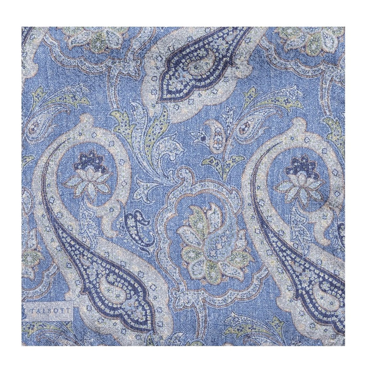 Blue Paisley Linen Pocket Square by Robert Talbott