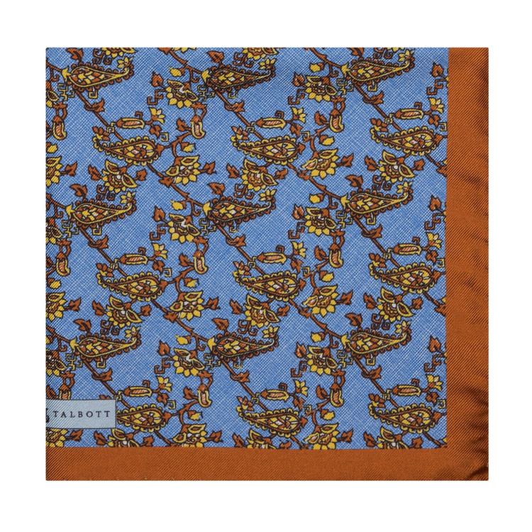 Blue and Brown Floral Silk Pocket Square by Robert Talbott