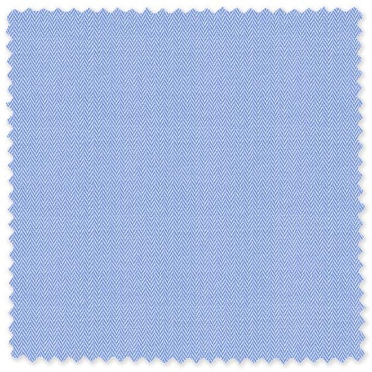 Narrow Blue Cotton Herringbone Custom Dress Shirt by Skip Gambert