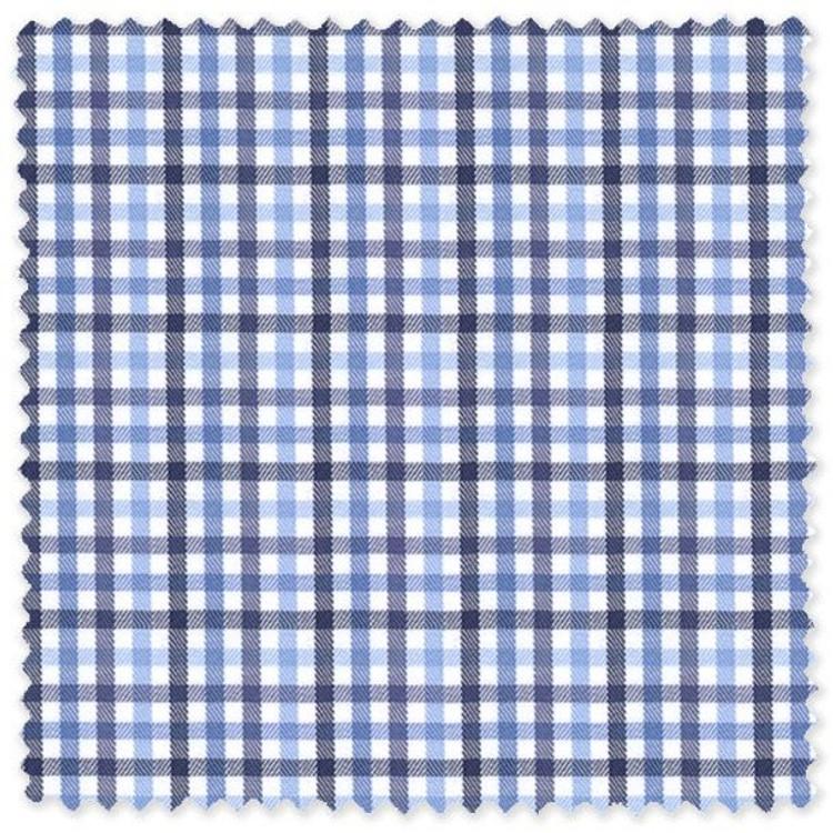 Navy and Light Blue Plaid Cotton Herringbone Custom Dress Shirt by Skip Gambert