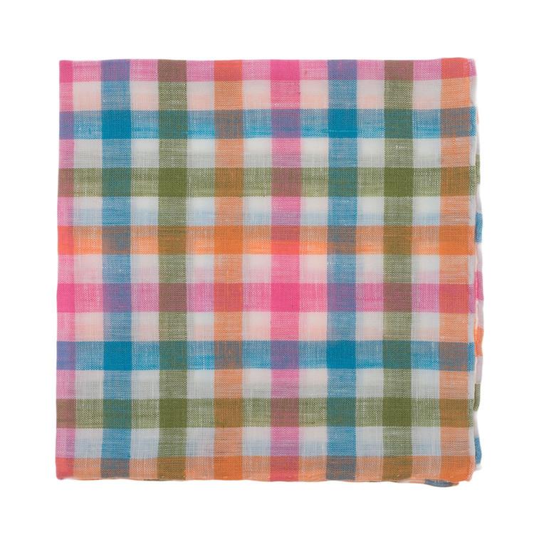 Bright Multi Check Linen Pocket Square by Robert Talbott