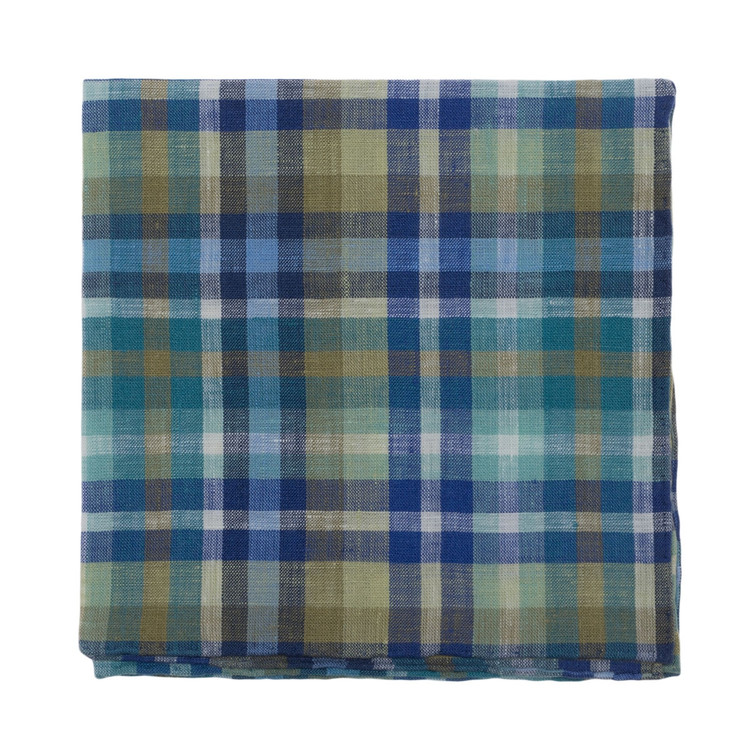 Blue and Olive Plaid Linen Pocket Square by Robert Talbott