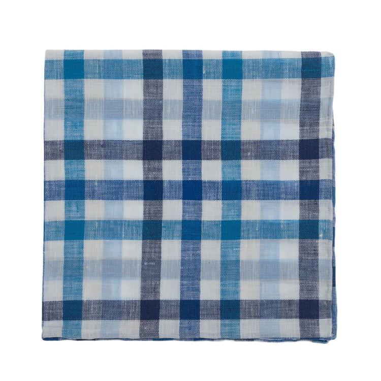 Blue and White Plaid Linen Pocket Square by Robert Talbott