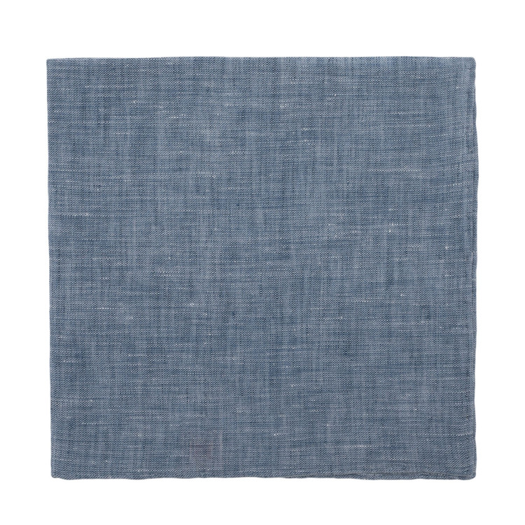 Blue Linen Pocket Square by Robert Talbott