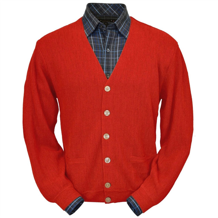 Baby Alpaca Link Stitch Cardigan Sweater in Red (Size Large) by Peru Unlimited