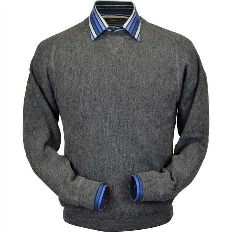 Baby Alpaca Link Stitch Sweatshirt Style Sweater in Medium Grey Heather (Size Large) by Peru Unlimited