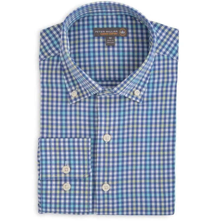 Mickey Multi-Gingham 'Crown Sport' Performance Sport Shirt in Ink (Size X-Large) by Peter Millar