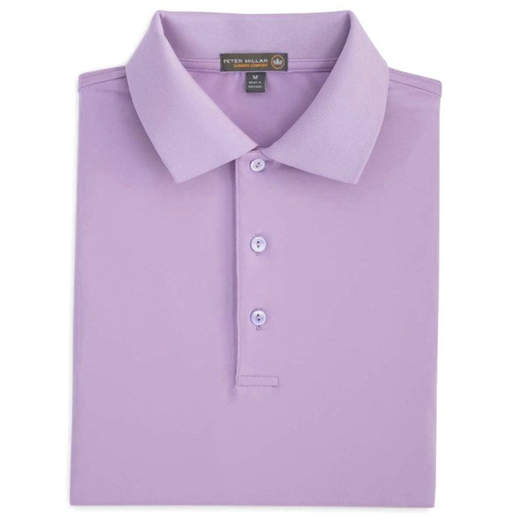 Solid Stretch Jersey 'Crown Sport' Performance Polo with Knit Collar in African Violet by Peter Millar