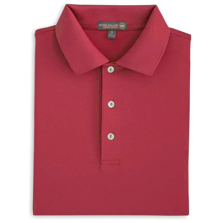 Solid Stretch Jersey 'Crown Sport' Performance Polo with Knit Collar in Fire Island Red by Peter Millar