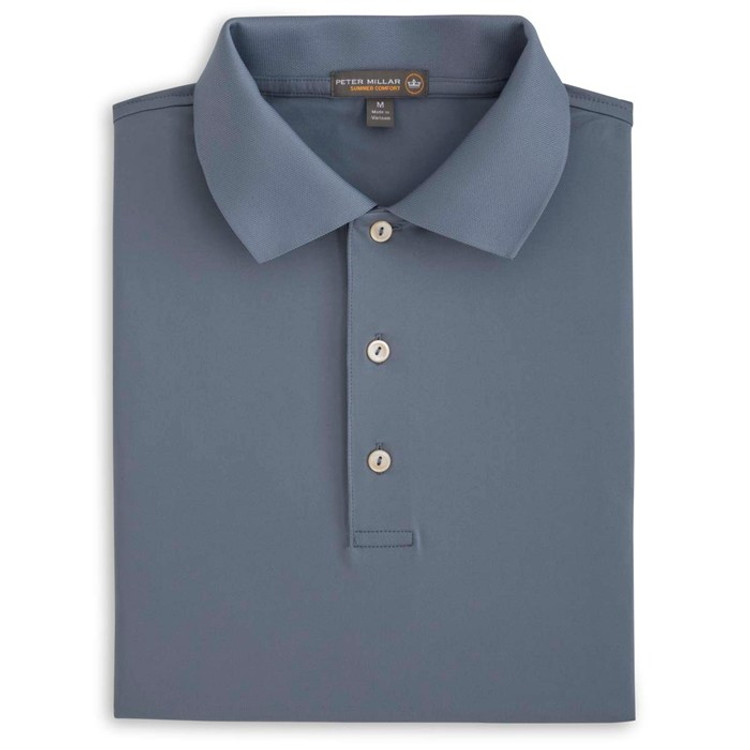 Solid Stretch Jersey 'Crown Sport' Performance Polo with Knit Collar in Flintstone by Peter Millar