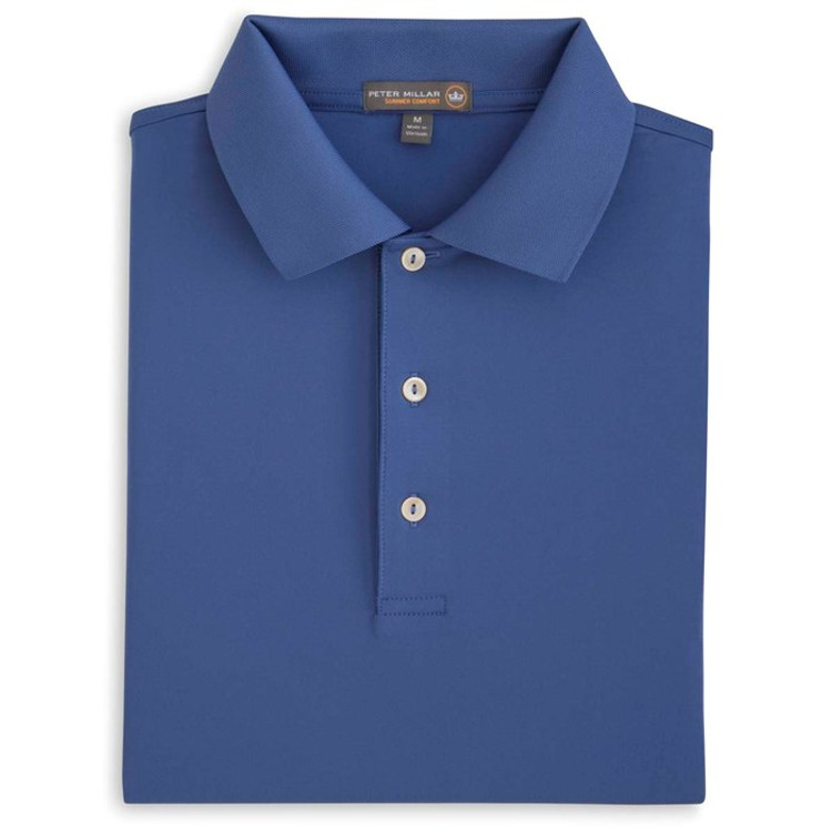 Solid Stretch Jersey 'Crown Sport' Performance Polo with Knit Collar in Ink (Size Medium) by Peter Millar