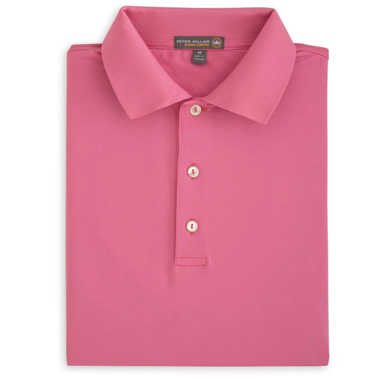 Solid Stretch Jersey 'Crown Sport' Performance Polo with Knit Collar in Moroccan Pink by Peter Millar