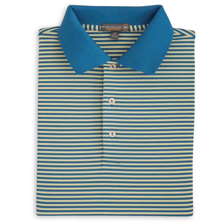 Competition Stripe Stretch Jersey 'Crown Sport' Performance Polo with Knit Collar in Mediterranean Blue by Peter Millar