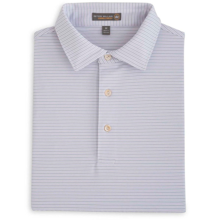 Chesapeake Stripe Stretch Jersey 'Crown Sport' Performance Polo with Self Collar in African Violet and Flintstone by Peter Millar