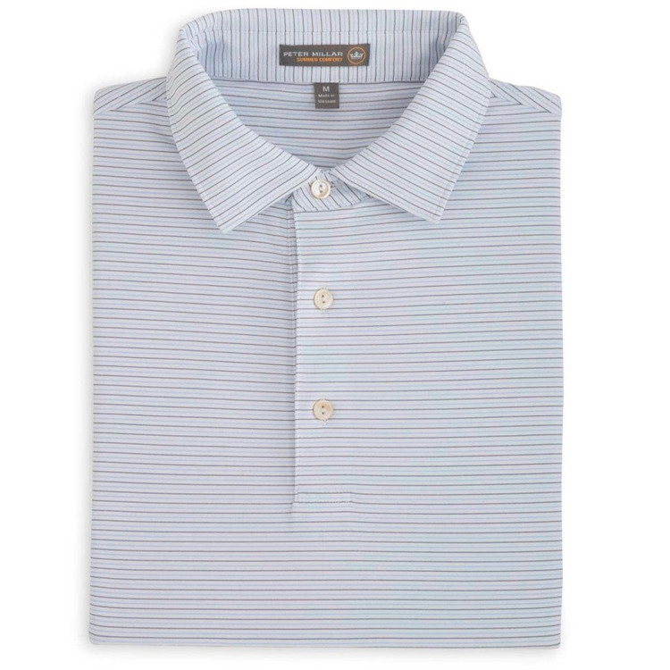 Chesapeake Stripe Stretch Jersey 'Crown Sport' Performance Polo with Self Collar in Cottage Blue and Midnight by Peter Millar