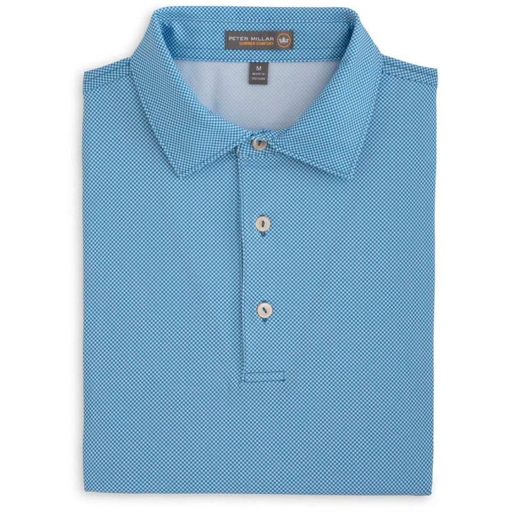 International Printed Birdseye Stretch Jersey 'Crown Sport' Performance Polo with Self Collar in Mediterranean Blue by Peter Millar