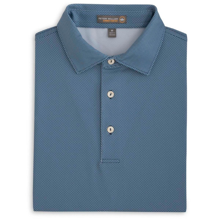 International Printed Birdseye Stretch Jersey 'Crown Sport' Performance Polo with Self Collar in Midnight by Peter Millar