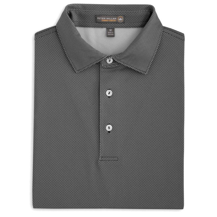 International Printed Birdseye Stretch Jersey 'Crown Sport' Performance Polo with Self Collar in Black by Peter Millar