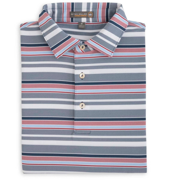 Wheaton Stripe Stretch Jersey 'Crown Sport' Performance Polo with Self Collar in Midnight by Peter Millar