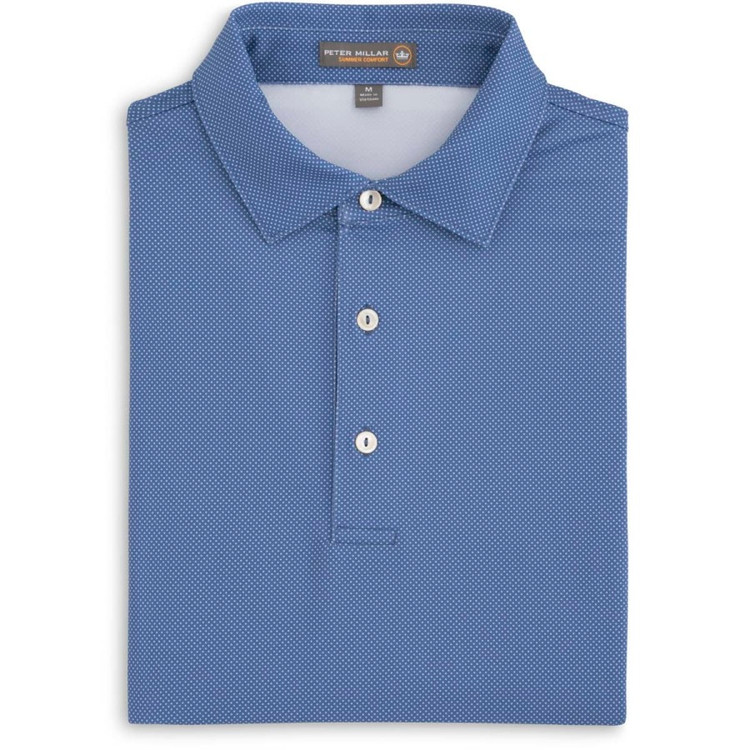 Pointer Print Mini Polka Dot Stretch Jersey 'Crown Sport' Performance Polo with Self Collar in Ink by Peter Millar
