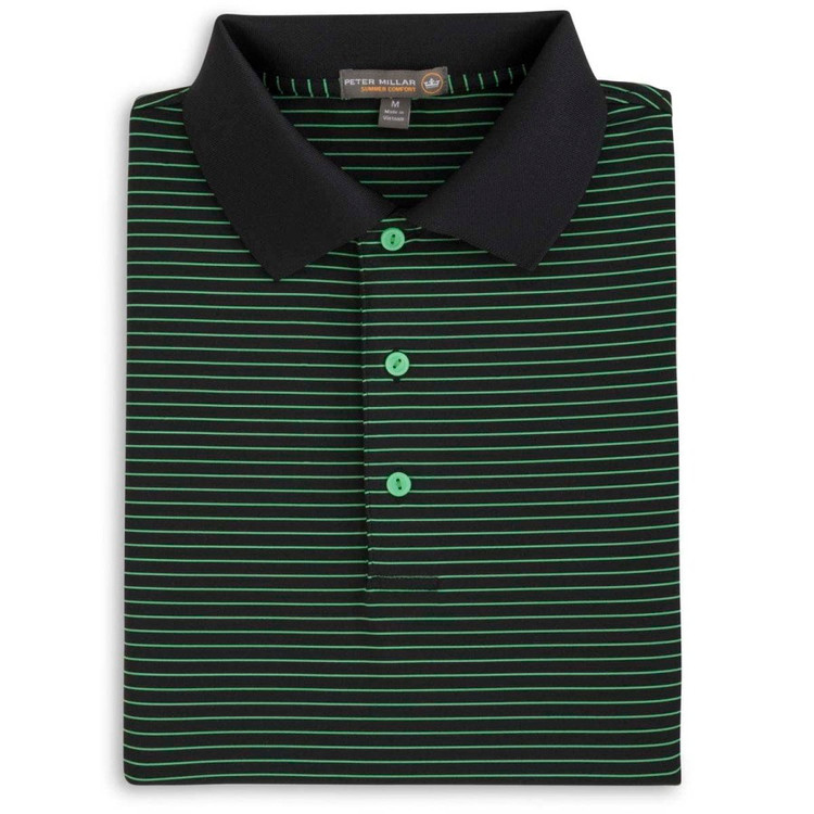 Sheppard Stripe Stretch Jersey 'Crown Sport' Performance Polo with Knit Collar in Black by Peter Millar