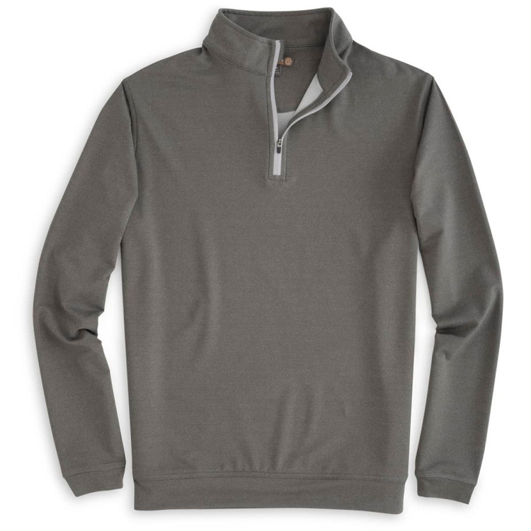 'Perth' Stretch Loop Terry Quarter-Zip Performance Pullover in Smoke by Peter Millar