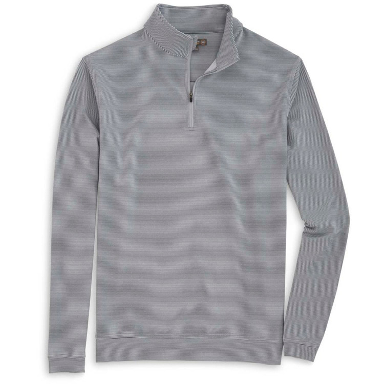 'Perth' Sugar Stripe Stretch Loop Terry Quarter-Zip Performance Pullover in British Grey by Peter Millar