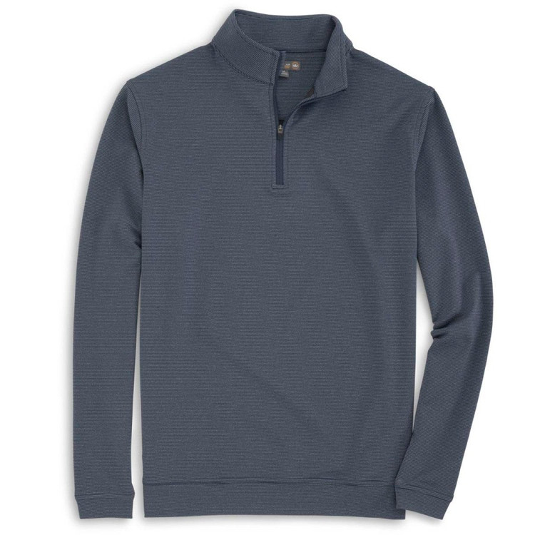 'Perth' Sugar Stripe Stretch Loop Terry Quarter-Zip Performance Pullover in Midnight by Peter Millar