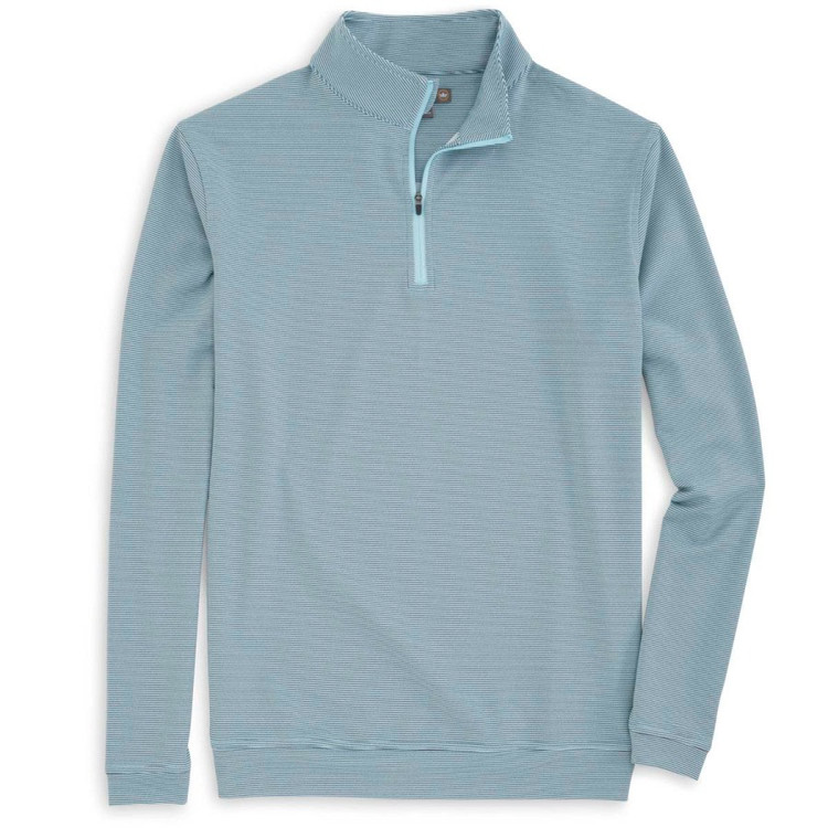 'Perth' Sugar Stripe Stretch Loop Terry Quarter-Zip Performance Pullover in Seafoam by Peter Millar