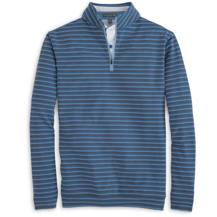 'Perth' Terry Stripe Stretch Loop Terry Quarter-Zip Performance Pullover in Midnight by Peter Millar