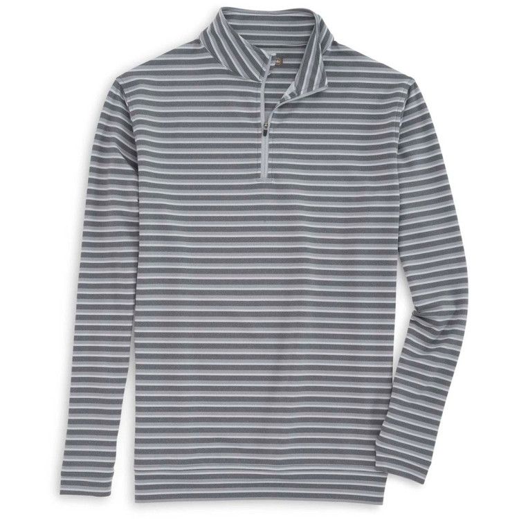 'Perth' Terry Stripe Stretch Loop Terry Quarter-Zip Performance Pullover in Smoke by Peter Millar