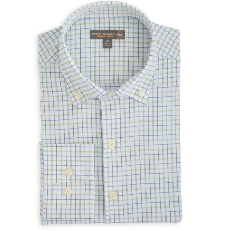 Johnny Multi-Tattersall 'Crown Sport' Performance Sport Shirt in Mediterranean Blue by Peter Millar