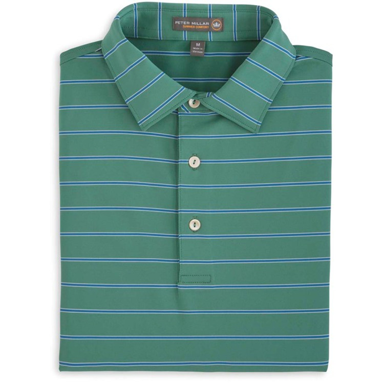 Tradeshow Stripe Stretch Jersey 'Crown Sport' Performance Polo with Self Collar in Snow Pea by Peter Millar