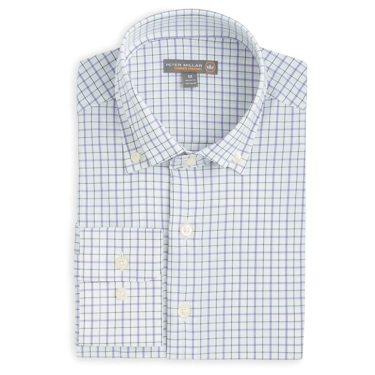 Johnny Multi-Tattersall 'Crown Sport' Performance Sport Shirt in Black, White, and Aftican Violet by Peter Millar