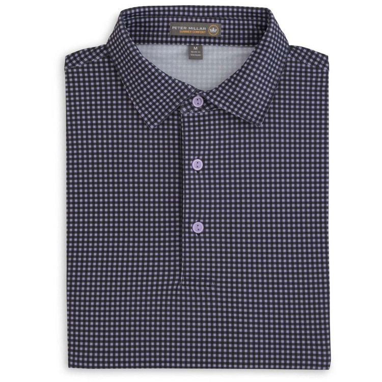 Nebraska Printed Gingham Stretch Mesh 'Crown Sport' Polo with Self Collar in Black by Peter Millar