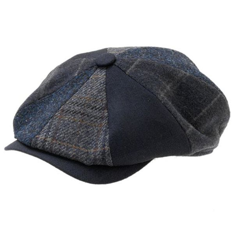 'Niklas' Patchwork Newsboy Cap in Navy (Size 62) by Wigens