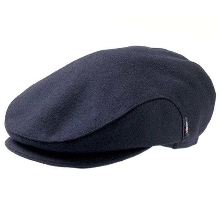 'Carl' Black Solid Wool Earflap Cap in Navy (Size 60) by Wigens