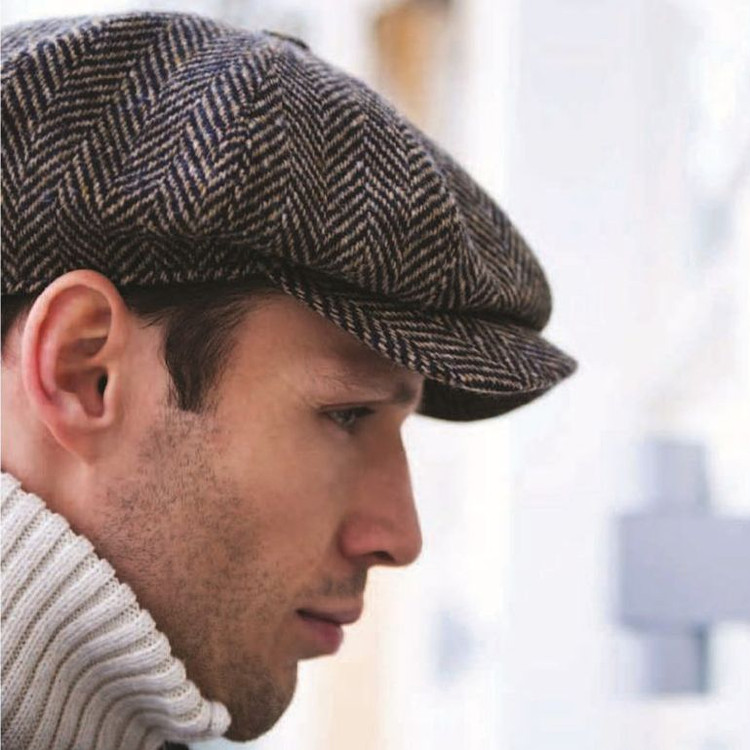 'Elof' Magee Tweed Newsboy Cap in Brown Herringbone (Size 58) by Wigens
