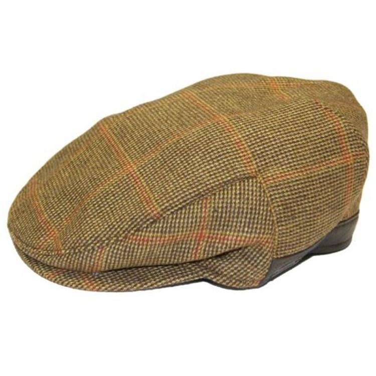 Tweed Check Wool Cap with Leather Trim (Size 60) by Wigens