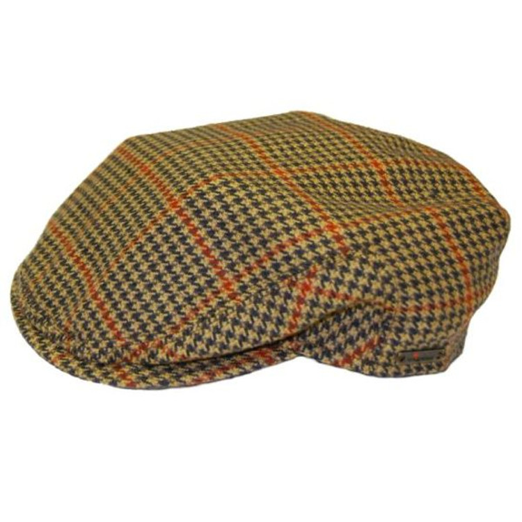Cashmere Cap in Tan and Black Houndstooth Plaid (Size 59) by Wigens