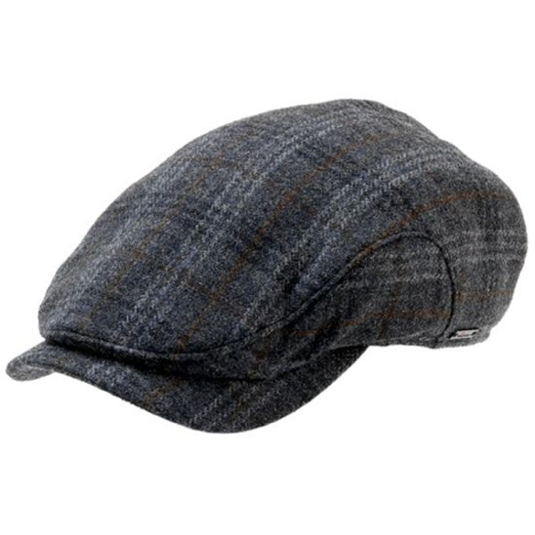 'Stefan' Wool Earflap Cap in Blue-Grey Plaid by Wigens